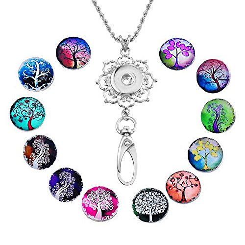 Souarts Womens Office Lanyard ID Badges Holder Necklace with 12pcs Snap Charms Jewelry Pendant Clip (Life (Badge Pendant)