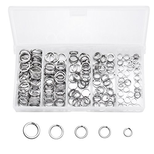 (SelfTek 200pcs Stainless Steel Split Rings Kit Fishing Lures Ring Chain Connector with Square Bead Storage Box(5 Sizes in Box))