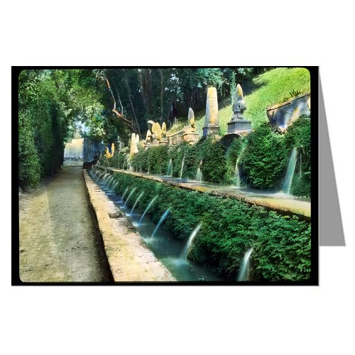 6 Greeting Cards of Frances Johnstons Hand Colored Lantern Slides of Tivoli, Italy Garden Wall Fountain
