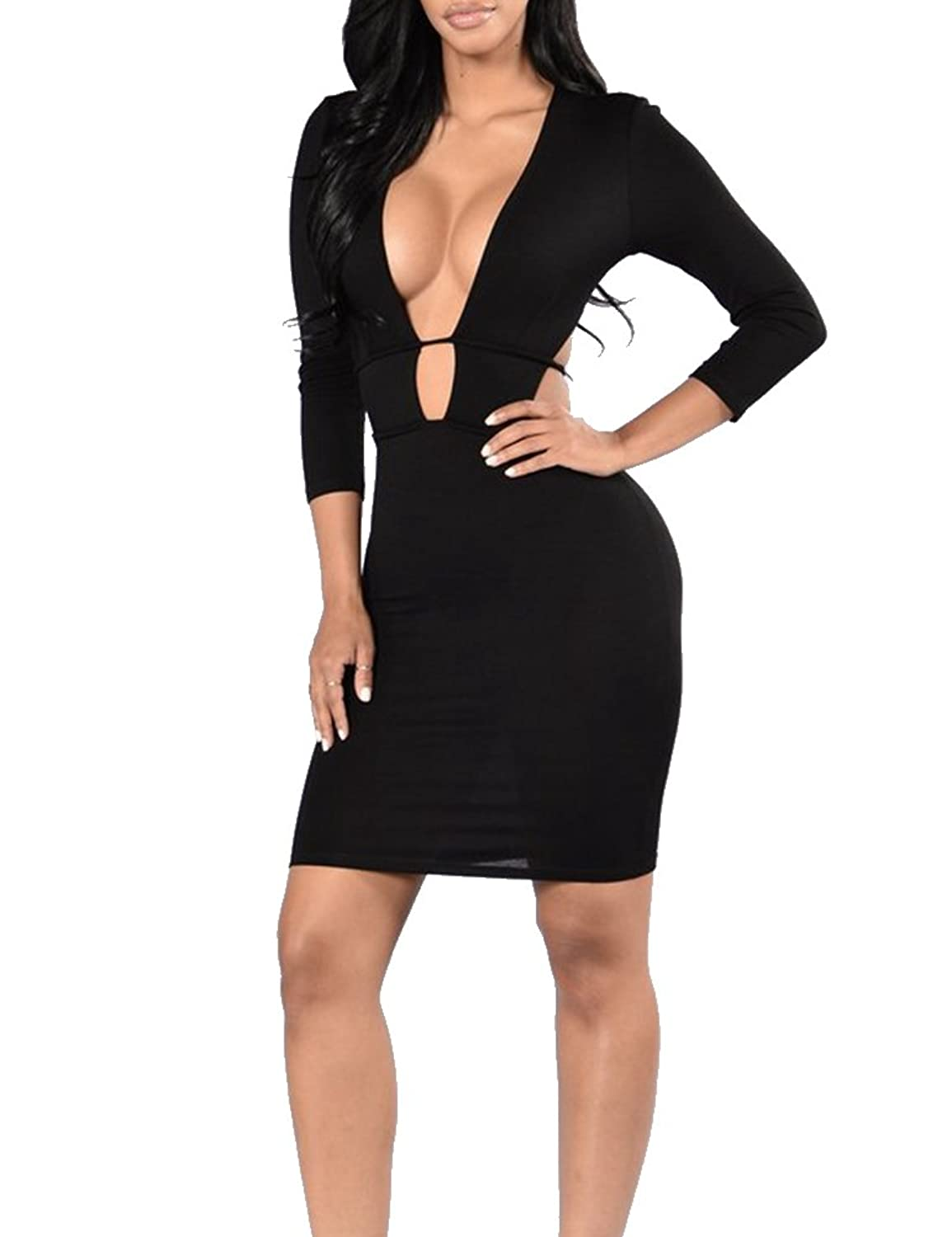 Women Sexy Deep V Neck 3/4 Sleeve Hollow Out Bodycon Clubwear Party Mini Dress