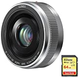 Panasonic LUMIX G 20mm / F1.7 II ASPH. Silver Lens (H-H020AS) with Sandisk 64GB Extreme SD Memory UHS-I Card w/ 90/60MB/s Read/Write
