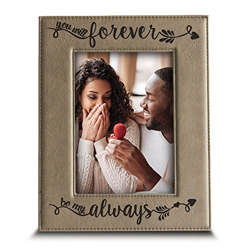 BELLA BUSTA - You Will Forever, be My Always Picture Frame - Engraved Leather Frame Gift for Couple (4