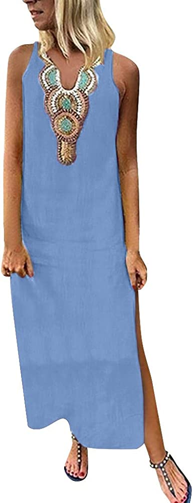 RAINED-Womens Plus Size V Neck Maxi Dress Ethnic Style Print Casual Loose Sleeveless Kaftan Long Dress Baggy Dress