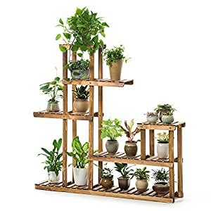 MILUCE Five layers balcony Flower pot rack Solid wood living room Multifunction indoor Flower pot rack Plant shelves