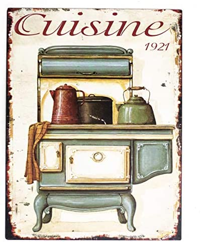 Antikas - Cartel de Chapa como Esmalte - Placas Nostalgia - decoración Cocina - letreros de Pared - Estufa Vieja de Cocina - imagenes de Pared Vintage: Amazon.es: Hogar