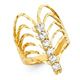 Semanario Ring 14k Yellow Gold CZ Fancy Band Stackable Look Diamond Cut Fashion Style Size 9