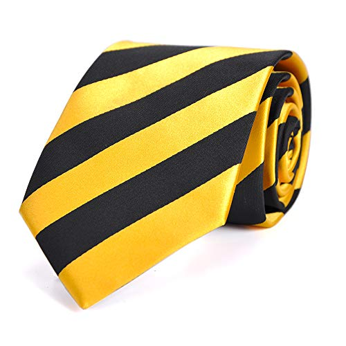 LUISDAN Stripe Tie Jacquard Woven Microfiber Formal Men's Neckties - Various Styles (Yellow&black)