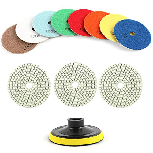 Houseables Diamond Polishing Pads, Granite Grinding Wheels, 4