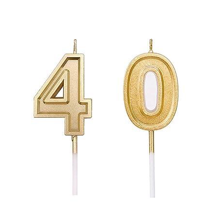 Hamkaw Candelas de cumpleaños, números Dorados y Varilla ...