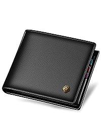 LAORENTOU Men's Genuine Leather Wallet Short Slim Wallets Credit Card Holder for Man