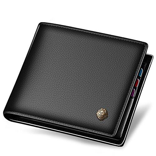 LAORENTOU Leather Wallet Men Short Wallet Vintage Cow Leather Casual Man Wallet Purse Standard Brand Wallets (BLACK)
