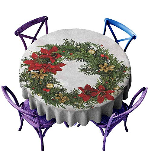 (ONECUTE Round Outdoor Tablecloth,Christmas Floral Wreath Cultural Design Poinsettia Blossoms Holly Pine Cone Branches,Party Decorations Table Cover Cloth,70 INCH Green Red Gold)