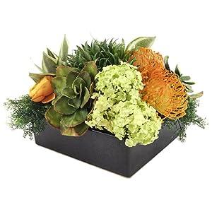 "9"" Hx14 W Bromeliad & Protea Silk Flower Arrangement -Green/Orange 31"