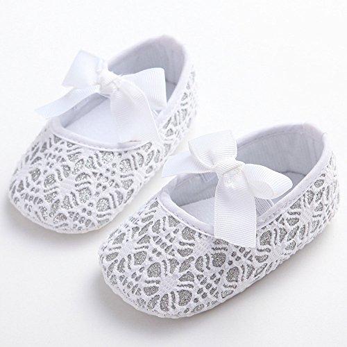 etrack-online purpurina zapatos de bebé Zapatillas Suave Antideslizante Suela Infantil Prewalker blanco roto blanco Talla:12-18months blanco