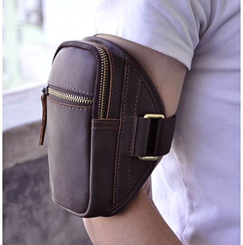 Le'aokuu Mens Genuine Leather Cowhide Hiking Running Arm Pouch Sports Tactical Armband Pouch (Dark Brown)