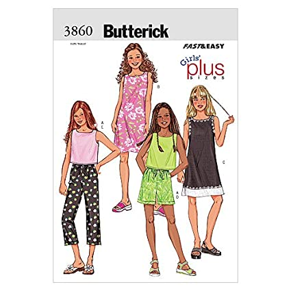 BUTTERICK PATTERNS B3860 Girls'/Girls' Plus Top, Dress, Shorts & Pants,  Size 7-8-10-12-14