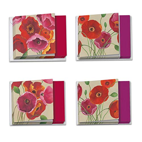 Painted Poppies: 12 Assorted 'Square-Top' Birthday Note Cards Featuring Bold and Vibrant Images of Colorful Poppy Flowers with Envelopes. MQ4548BDG-B3x4 (Card Birthday Poppies)