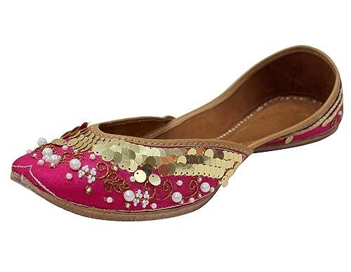 8ffe9e1e0aaa Step n Style Ladies Dark Pink Crystal Work Rajasthani Juti Punjabi Jutti  Wedding Mojari  Buy Online at Low Prices in India - Amazon.in
