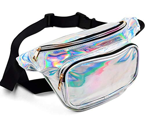 FANNYFAM Cute Holographic Fanny Pack - 80s Retro Vintage Style Waist Bag - Shiny Silver Metallic Iridescent. -
