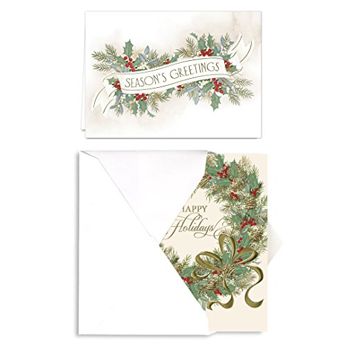 Holiday Foliage Holiday Card Assortment - Set of 36 (2 designs) versed, foil embossed cards with white envelopes