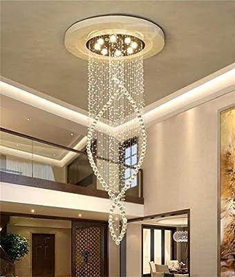 Araña (cristal, doble escalera Lustres Lustres Lustres Villa Long escalera Large lustre salón de cristal, 40 * 40 * 120 cm (4 W/LED * 6): Amazon.es: Iluminación