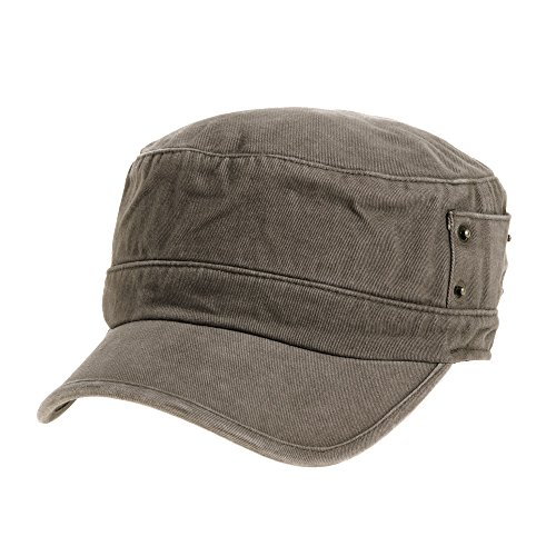 WITHMOONS Cadet Cap Cotton Vintage Hat Side Revets NC4731 - Army Cotton Cap Fitted Washed