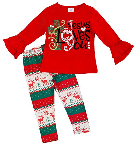 Little Girls' 2 Pieces Top Pant Set Christmas Jesus Holiday Party Girl Kids Outfit Red 4 M (P400556P) ()