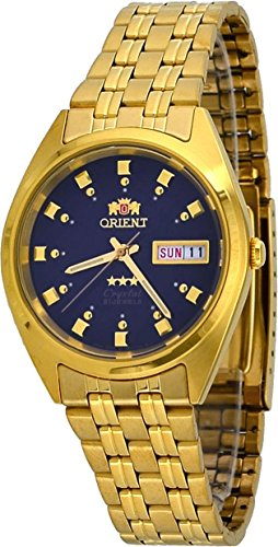 Orient #FAB00001DW Men's 3 Star Standard Gold Tone Navy Blue Dial Automatic Watch