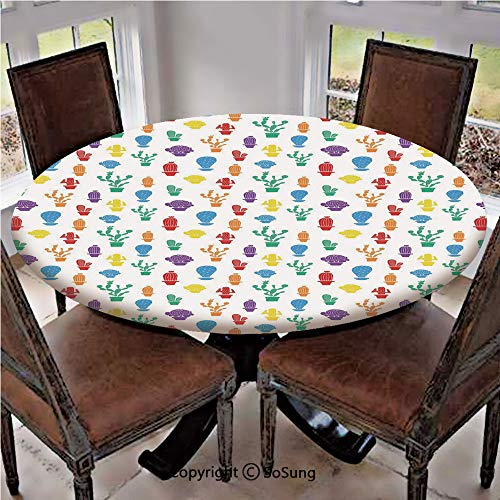 Elastic Edged Polyester Fitted Table Cover,Colorful Plant Silhouettes Cartoon Style Drawing Blossoming Nature Prickly Foliage Decorative,Fits up 40