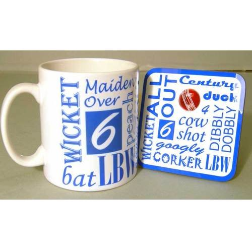 Cricket Text Mug and Coaster Set by Sporting Figures