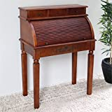 International Caravan 3820-IC Furniture Piece Carved Wood Roll Top Desk