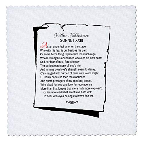 3dRose Alexis Design - Poetry Shakespeare Sonnets - Sonnet 23. As an unperfect Actor on The Stage - 22x22 inch Quilt Square (qs_305668_9)
