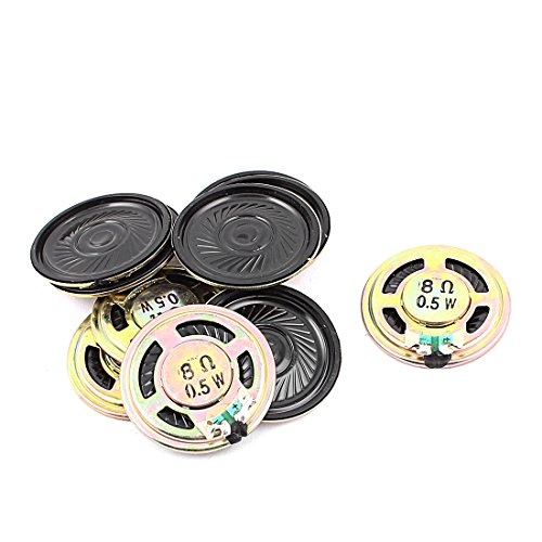 Aexit 10 Pcs 36mm 8 Ohm 0.5W External Magnetic Speaker Loudspeaker Gold Tone by Aexit
