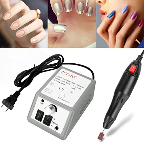 shaofu 20,000 RPM Professional Electric Nail Drill Machine, Pedicure Drill Electric Machine with Nail Drill Bits Kits for Acrylic Nails (Gray1)