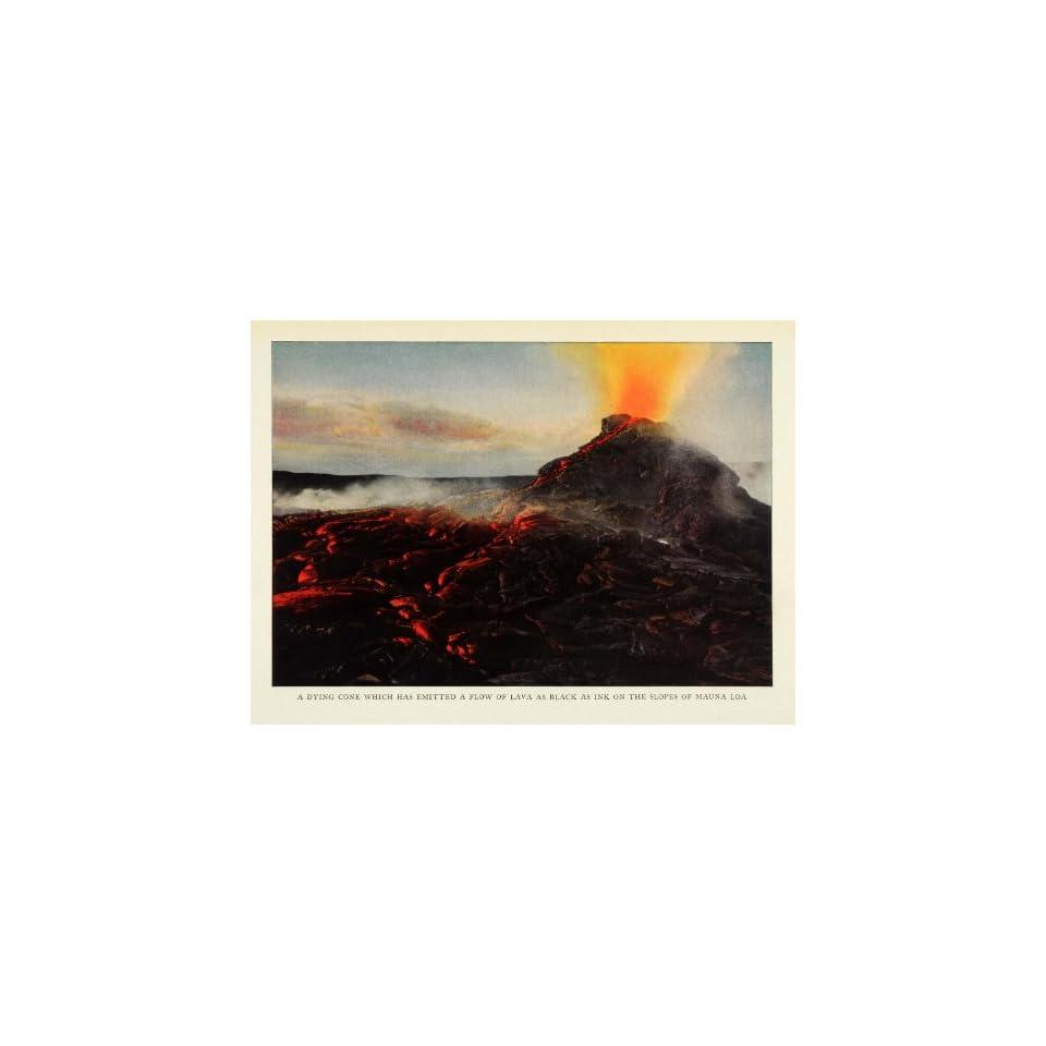 1924 Print Lava Magma Mauna Loa Hawaii Shield Volcano Eruption Natural History   Original Color Print