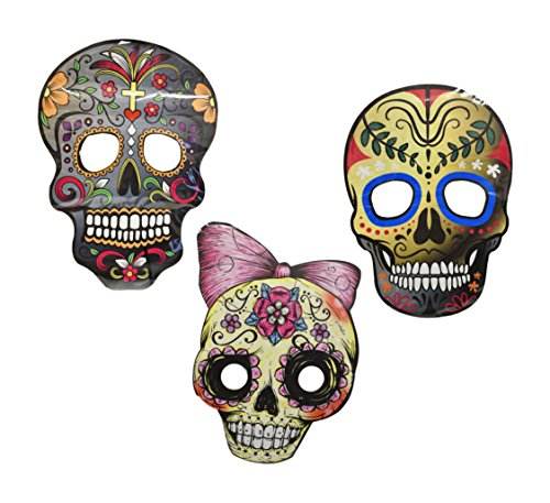 Set of 3 Deluxe Sugar Skull Masks! 3 Styles! Large and Tasteful! Perfect for Party Favors, Parties, Parades, Costumes, Halloween, Masquerade and More!