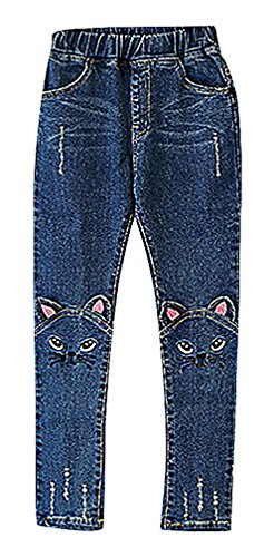 [Sweety, Girls' Pull On Cat Face Ears Appliques Embroidery Tears Skinny Jeans, 1 7] (Sparkle Belted Jeans)