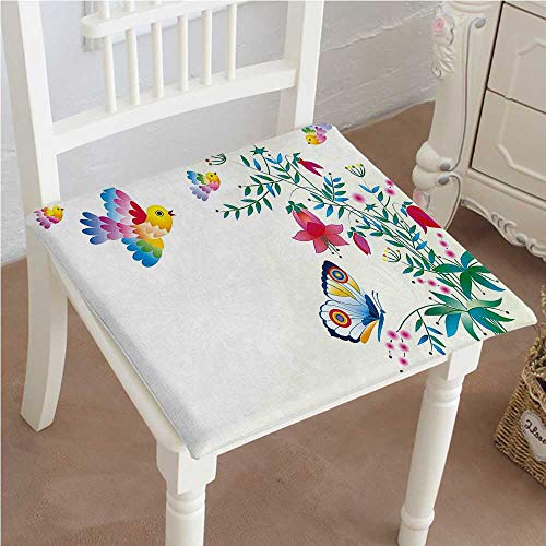 Chair Seat Pads Cushions Illustration Bellflower with Birds Butterflies Blooms Colorful Summertime Multicolor Square Car and Chair Cushion/Pad with Ties, Soft, for Indoors Or Outdoor 30