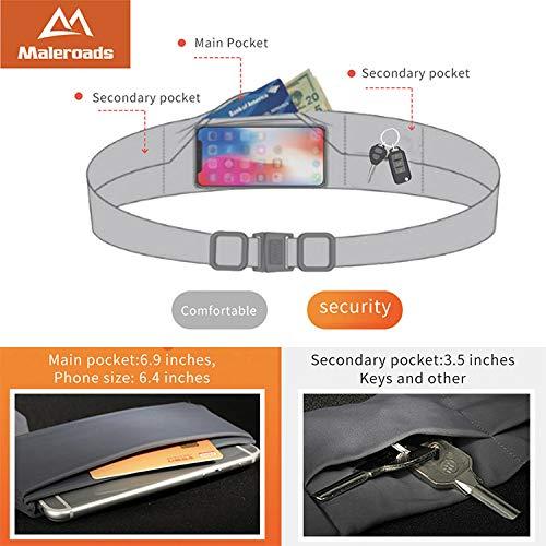 Maleroads Unisex Travel Money & Running Belt, Fanny & Waist Pack, Large Pocket Belt Phone Holds & 2 Secure Pockets for Running Travel Medical Walking Fitness Yoga,Spandex,Adjustable Fit, Comfortable