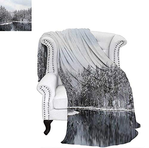 Velvet Plush Throw Blanket Lake Surrounded by Snow Covered Trees on a Cold Winter Day in Finland Reflections Throw Blanket 70