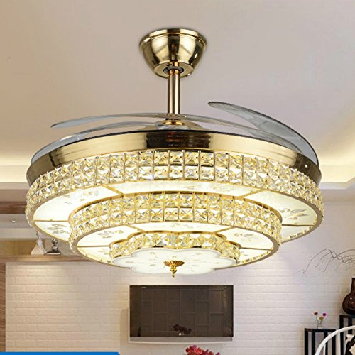 - Lighting Fans Invisible Ceiling Fan Chandelier with Remote 42 Inch Ceiling Fan Light with 4 Acrylic Retractable Blades Modern Style for Home with 3 Colors Changed White/Warm/Neutral Light (Gold)