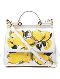 Miss Sicily Floral Lemon Print White Dauphine Leather Medium Bag Handbag Purse Tote