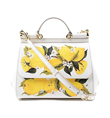 DOLCE & GABBANA Miss Sicily Floral Lemon Print White Dauphine Leather Medium Bag Handbag Purse Tote (Gabbana Dolce Floral And Top)