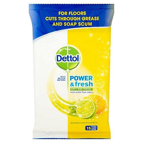 Dettol piso de la limpieza toallitas de limón 15 por paquete