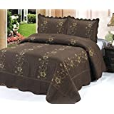 Homemusthaves-3 Piece Quilted Bedspread Brown Quilt Sham Floral New (Queen)