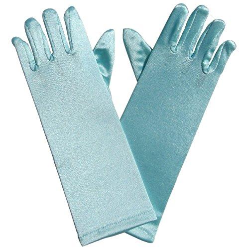[So Sydney Kids Long Dress-Up Princess Costume Gloves, Soft Satin Shimmer Fabric (Light Blue (Cinderella))] (Light Blue Princess Costume)