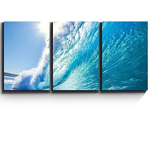 Print Contemporary Art Wall Decor Ocean Wave Surf Barrel Artwork Wood Stretcher Bars x3 Panels