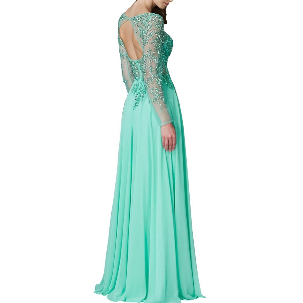 ABaowedding Women\'s Floor Length Evening Dress Lace Floral Sleeves ...