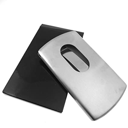 867277e7ad8 Image Unavailable. Image not available for. Color: EOM Smart Slide Out  Stainless Steel Business Credit Card Holder ...