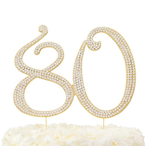 LOVENJOY Rhinestone 80 80th Birthday Cake Topper Gold in Gift Box ()